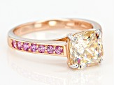 White Fabulite Strontium Titanate And Pink Sapphire 10k Rose Gold Ring 3.58ctw