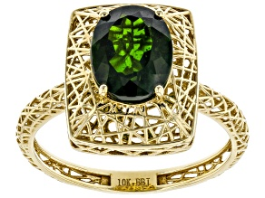 Green Chrome Diopside 10k Yellow Gold Filigree Ring 2.21ct