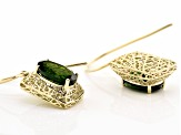 Green Chrome Diopside 10k Yellow Gold Earrings 4.19ctw