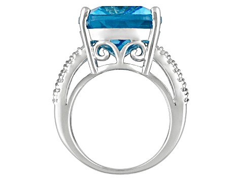 Womens Bold Cocktail Ring Bright Blue Topaz Sterling Silver Solitaire Style Ring