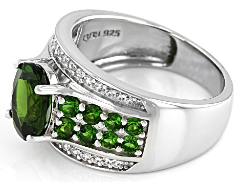 Green Chrome Diopside Rhodium Over Silver Ring 2.53ctw