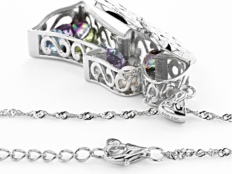 Multi-Color Gemstone Rhodium Over Silver Pendant With Chain 3.99ctw