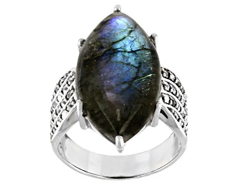 Picture of Gray Labradorite Rhodium Over Silver Ring