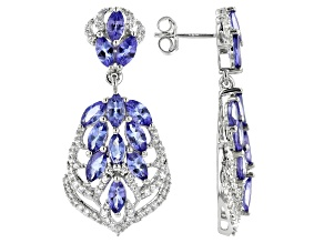 Blue Tanzanite Rhodium Over Silver Dangle Earrings 5.97ctw