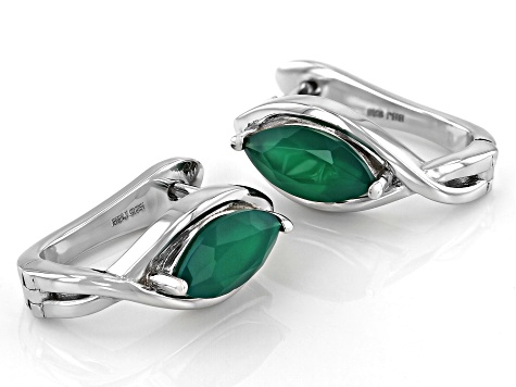 Green Onyx Rhodium Over Sterling Silver Earrings 1.43ctw