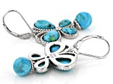 Blue Turquoise Rhodium Over Silver Butterfly Earrings .03ctw