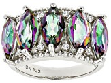 Multi-Color Quartz Rhodium Over Silver Ring 3.90ctw