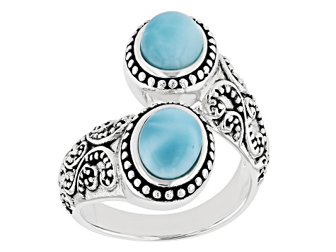Blue Larimar Rhodium Over Sterling Silver Bypass Ring