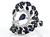 Blue sapphire rhodium over sterling silver ring 4.48ctw