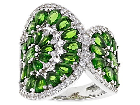 Green chrome diopside rhodium over silver ring 5.13ctw
