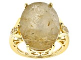 Yellow Rutilated Quartz 18k Yellow Gold Over Silver Ring 13.65ctw