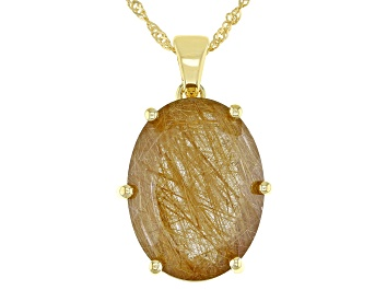 Picture of Yellow Rutilated Quartz 18k Yellow Gold Over Silver Solitaire Enhancer Pendant With Chain 13.60ctw