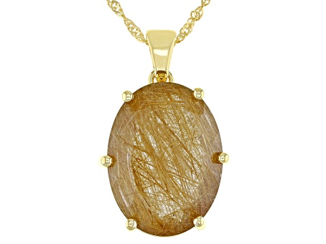 Yellow Rutilated Quartz 18k Yellow Gold Over Silver Solitaire Enhancer Pendant With Chain 13.60ctw