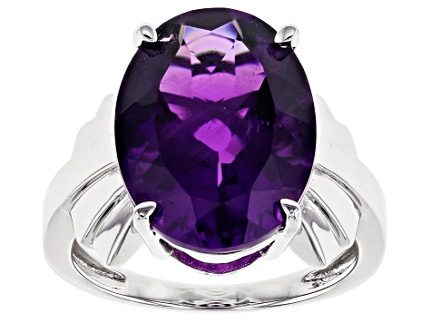 Purple Amethyst Rhodium Over Sterling Silver Ring 7.82ct