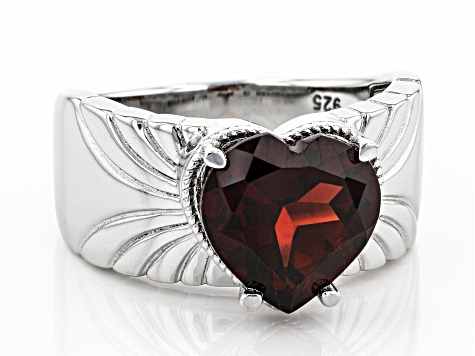Red Garnet Rhodium Over Sterling Silver Solitaire Ring 3.00ct