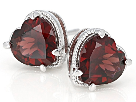 Red Garnet Rhodium Over Silver Earrings 3.60ctw