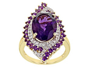 Purple Amethyst 18k Yellow Gold Over Silver Ring 6.31ctw