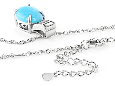 Blue Sleeping Beauty Turquoise Rhodium Over Silver Slide with Chain