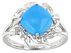 Blue Sleeping Beauty Turquoise Rhodium Over Silver Solitaire Ring