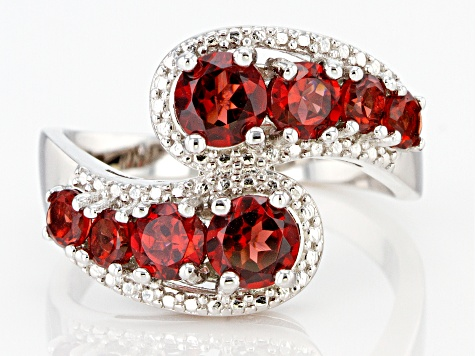 Red Garnet Rhodium Over Sterling Silver Bypass Ring 2.25ctw