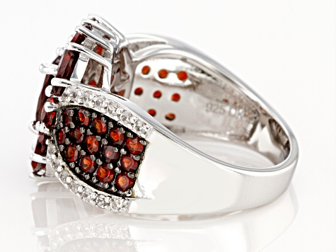 Red Garnet Rhodium Over Sterling Silver Ring 4.07ctw