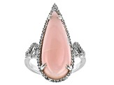 Pink Opal Rhodium Over Silver Ring 0.43ctw