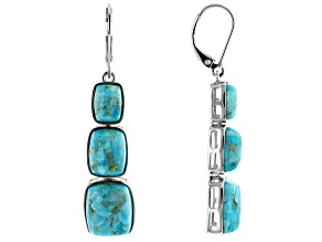 Blue Turquoise Rhodium Over Sterling Silver 3-Stone Dangle Earrings