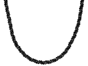 Black spinel rhodium over sterling silver twisted necklace