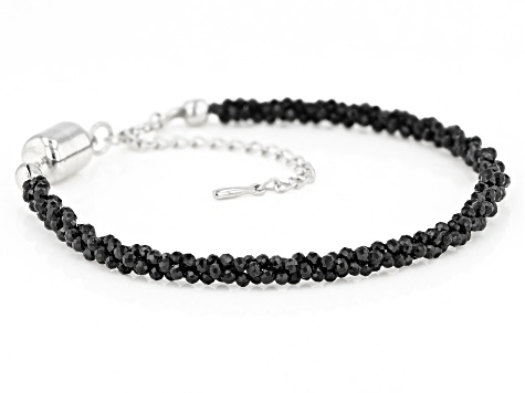 Black spinel rhodium over sterling silver bracelet