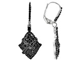 Black Spinel Rhodium Over Silver Dangle Earrings 1.09ctw