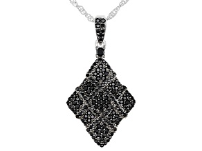 Black Spinel Rhodium Over Sterling Silver Pendant With Chain 1.34ctw