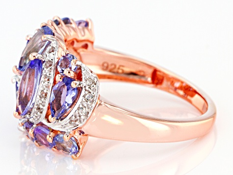 Blue Tanzanite 18k Rose Gold Over Silver Ring 2.41ctw