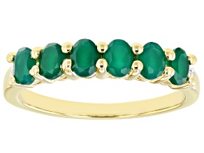 Green Onyx 18k Yellow Gold Over Sterling Silver Band Ring .75ctw