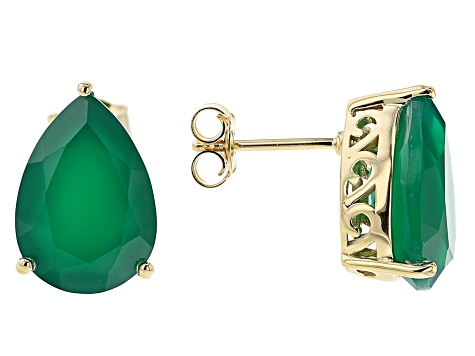 Green Onyx 18k Yellow Gold Over Silver Ring, Earrings, and Pendant with Chain Set 26.34ctw