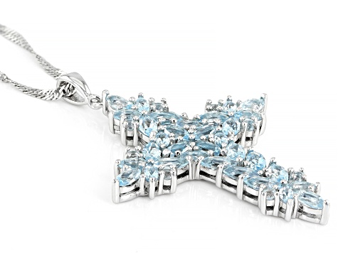 Sky Blue Topaz Rhodium Over Silver Cross Pendant with Chain 4.08ctw