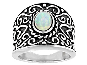Ethiopian Opal Rhodium Over Sterling Silver Ring .76ct