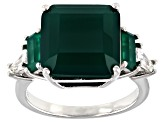 Green Onyx Rhodium Over Sterling Silver Ring 6.40ctw