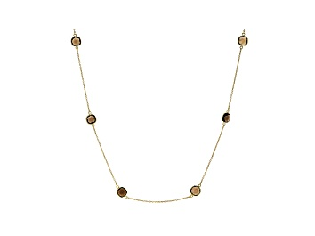 Picture of Brown Smoky Quartz 18k Yellow Gold Over Sterling Silver Necklace 22.95ctw