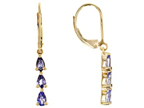 Blue Tanzanite 18k Yellow Gold Over Sterling Silver Earrings 1.02ctw.