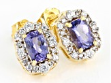Blue Tanzanite 18K Yellow Gold Over Silver Earrings 1.28ctw