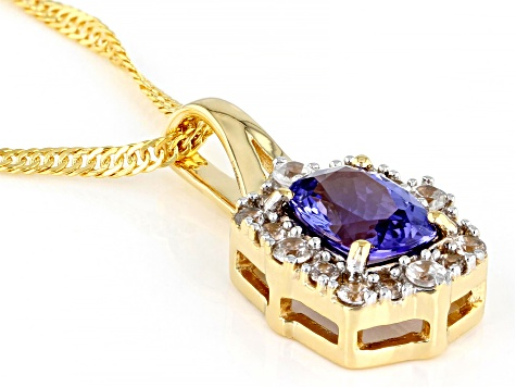 Blue Tanzanite 18K Yellow Gold Over Silver Pendant With Chain.