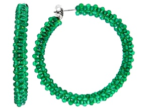 Green Onyx Rhodium Over Sterling Silver Hoop Earrings