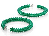 Green Onyx Rhodium Over Sterling Silver Hoop Earrings