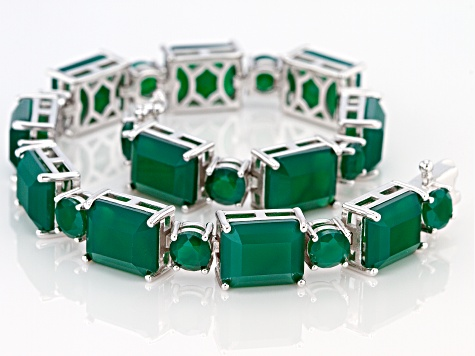 Green Onyx Rhodium Over Sterling Silver Bracelet 31.54ctw