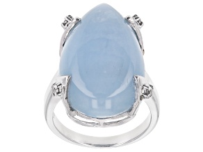 Blue Aquamarine Rhodium over Silver Ring .10ctw