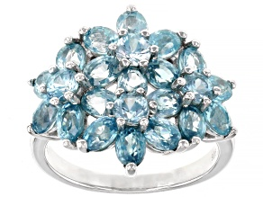 Blue Zircon Rhodium Over Sterling Silver Ring 4.66ctw