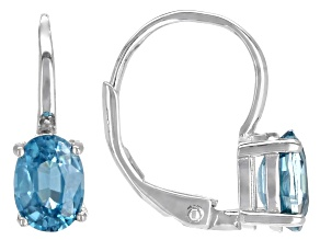 Blue Zircon Rhodium Over Silver Drop Earrings 2.14ctw