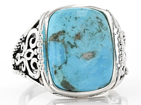 Blue Turquoise Rhodium Over Sterling Silver Solitaire Ring