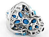Blue Sleeping Beauty Turquoise Rhodium Over Silver Ring 1.54ctw