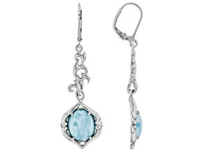 Blue Larimar Rhodium Over Silver Dangle Earrings